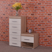 Chest of 5 Drawers Tall Boy & 1 Drawer Bedside Table in White & Sonoma Oak Bedroom Furniture