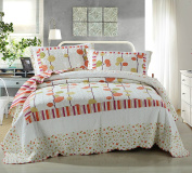 DaDa Bedding Autumn Polka Dot Vineyard Reversible Quilted Coverlet Bedspread Set - Bordered Bright Vibrant Colourful Solid White & Orange Print - King - 3-Pieces