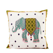 Monkeysell Wool Hand-embroidered ,Thickened by pillowcase fabric Elephant pattern Phoenix design Cotton art Throw Pillow Cover for Bed Sofa Decorative 45x45cm(18x18inch)