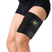 yosoo Adjustable JAMBIERE Protection for Strain Neoprene Thigh Hamstring Injuries Rehabilitation Tendonitis and Recovery, Fits Left or Right Leg Men and Women, Black