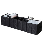 Car Trunk Organiser,Cozyswan Trunk Storage Container Foldable 4 Compartments Fabric Storage Basket Black