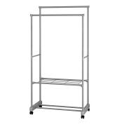 aleko she62g portable garment clothes rack shelves organiser wardrobe 160cm tall grey