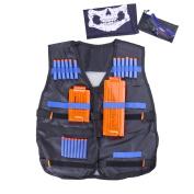 Fody Tactical Vest Kit for Nerf N-Strike Elite Series + 20-Dart Refill + Vision Gear + 5-Dart Quick Reload Clip + 12-Dart Quick Reload Clip + Skull Face Tube Mask