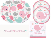 Lil' Spout Pink Whale Baby Shower Plates, Napkins and Shaped Ribbon Banner 16 Guests