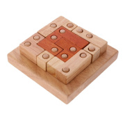 MonkeyJack Classic Wooden Puzzle Toy Brain Teaser Game Geometric Brick Puzzle Kids Educational Toys