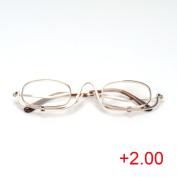 Magnifying Make Up Makeup Glasses Flip Down Lenses Gold Metal Frame +1.5-4.0 VOSO