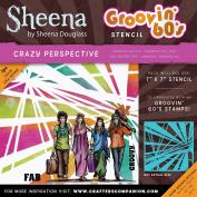 Sheena Douglass Grooving 60s Stencil 18cm x 18cm -Crazy Perspective