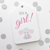 It's a Girl, Elephant Baby Shower Favour Hang Tags