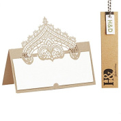 60pcs Wedding Table Name Place Cards Personalised Reception Decoration with Chanmpagne Lace Crown Pattern Cardstock for Wedding Favours,Party