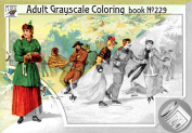 Adult Colouring Book (24 pages 20cm x 28cm /A4) Winter Sport Ski Skate Kerling # Liebig Cards Collection Art Deco FLONZ Vintage Designs for Grayscale Colouring
