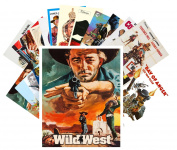 Postcard Pack 24pcs Western Vintage Movie Poster Wild West Cowboys Indians Action