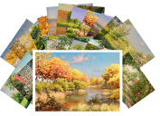 Postcard Pack 24pcs Country Garden Landscapes Rural Pastoral Vintage Painting by Johan Krouthen