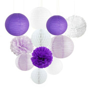 Kubert 15 White Purple Lavender Paper Crafts Tissue Paper Honeycomb Balls Lanterns Paper Pom Poms Birthday Wedding Party Outdoor Decoration Premium Tissue Paper Pom Pom Flowers Craft Kit