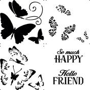 Hot Off the Press Layered Butterflies 12x12 Stencil - HOTP9276