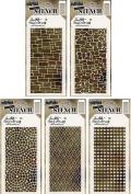 Tim Holtz - Stencils Set 11 - Slate, Stone, Mosaic, Woven & Grid Dot - 5 Item Bundle