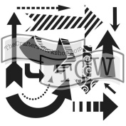 The Crafter's Workshop Set of 2 Stencils – Susana's Arrows 12x 12 Large and 15cm x 15cm Mini - Includes 1 each TCW423 and TCW423s - Bundle 2 Items