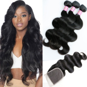 Goldfinch Peruvian Body Wave 3 Bundles with Closure 100% Unprocessed Human Virgin Hair With Lace Closure