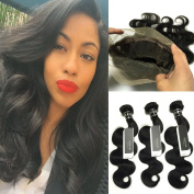 BQ HAIR 8A Remy Virgin Body Wave 360 Lace Frontal Closure Pre-Plucked With 3 Bundles 100% Unprocessed Real Human Hair Natural Black Colour