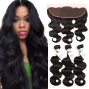 Missivy Peruvian Body Wave 3 Bundles with 13x 4 Full Lace Frontal Closure Ear to Ear with Baby Hair Unprocessed Peruvian Virgin Human Hair Weave 10 12 14+20cm