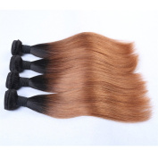 Furice 4Pcs Brazilian Straight Ombre Medium Brown Body Wave Virgin Remy Hair 3 Bundles With Lace Closure 100g/pc