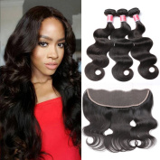 Beauty Princess Peruvian Body Wave 3 Bundles with Frontal Ear to Ear Lace Frontal Closure with Bundles 8A Grade Unprocessed Vigin Human Hair Extensions Natural Closure
