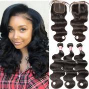 Pizazz Brazilian Virgin Hair Body Wave 3 Bundles with Lace Closure Middle Part 7a 100% Unprocessd Virgin Human Hair Weave with Closure Natural Colour
