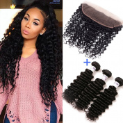 GEFINE 9A Brazilian Deep Curly Virgin Hair 3 Bundles with 1pc 33cm x 10cm Ear to Ear Full Lace Frontal Closure Free Part 100% Unprocessed Human Hair Extensions Weave Natural Colour 18 20 22+41cm