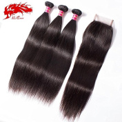 Ali Queen Hair 3 Bundles With Closure Straight Off Black 5A Brazilian Virgin Hair Straight 3 Bundles With 4x4 Free Part Lace Closure