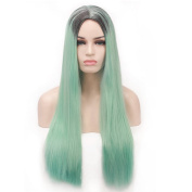 """COSIN 29.5"""" Long Straight Black Root Ombre Light Green Wig Fancy Costume Party Wigs for Women with Hairnet"""