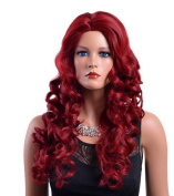 A.Monamour Women's Pure Wine Red Long Wavy Loose Waves Centre Parting Synthetic Hair Full Wig For Fancy-Dress Party Costume Cosplay