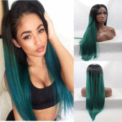 Real Hair Ombre 1b#/Green Synthetic Lace Wig for African Americans 30cm - 70cm 150%density Free Part Stock