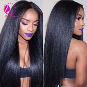 QIRUI HAIR Natural Looking Light Italian Yaki Left U Part Wig Glueless Brazilian Virgin Human Hair Wigs For Black Women 130 Density African American Kinky Straight None Lace Wigs 36cm