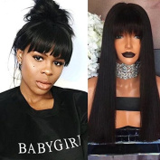 Ten Chopstics Full Lace Human Hair Wigs Silky Straight Hair Wigs with Baby Hair Bleached Knots For Black Women 100% Unprocessed Peruvian Virgin Hair Lace Front Wigs With Bangs