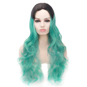 "COSIN 29.5"" Long Wavy Curly Black Roots Ombre Green Wig Full Cosplay or Daily Use Wig"