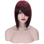 COSIN 12''New Fashion Short Straight Mixed Colour Wine Red & Black Bob Wig with Side Bangs Cosplay Party Wig