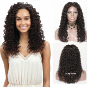 Maycaur Long Curly Human Hair Wigs With Baby Hair Brazilian Full Lace Wigs Natural Black Lace Front Wig 150 Density