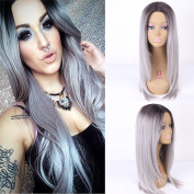 Royalvirgin Silk Straight Ombre Silver Grey Synthetic Wig Glueless Two Tone Natural Black/Grey Heat Resistant Hair Wigs For Women