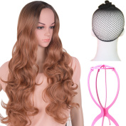 Emmet Long Wavy Synthetic Wigs Ombre Colour Women's Full Wig Kanekalon Big Spiral Curly Cosplay Party Costume Wig with Free Wig Cap & Free Wig Stand Holder
