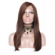 Maycaur Long Straight Human Hair Wigs With Baby Hair Brown Colour Full Lace Wigs Brazilian Lace Front Wig 130 Density