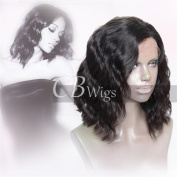 Cbwigs Glueless Short Bob Wavy Lace Front Human Hair Wig for African American Women 11cm Deep Parting Brazilian Remy Body Wave Full Wigs with Baby Hair Natural Colour