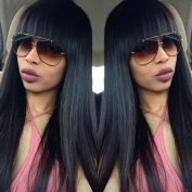 Maycaur Natural Silky Straight Wigs Black Colour Synthetic Lace Front Wig With Baby Hair Natural Hairline 60cm