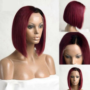 Short Bob Style #1bOmbre Burgundy Hair Synthetic Hair for Fashion Lady Side Part 5.1cm - 7.6cm