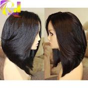 RJ HAIR Soft Coarse Yaki Short Bob Cut Wig Glueless Brazilian Human Hair Yaki Bob Lace Front Wigs For Black Women