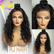 RJ HAIR Loose Curly Wave Lace Front Wig Virgin Hair Glueless Human Hair with Baby Hair For Black Women 130% Density Natural Colour 46cm
