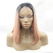 Two Tone Synthetic Glueless Lace Front Wig Three Combs & Adjustable Straps Ombre #1b/Dark Pink