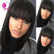 QIRUI HAIR Full Lace Wigs Short Bob Straight for Black Women Virgin Brazilian Human Hair Wigs With Full Bangs 130% Natural Colour 30cm