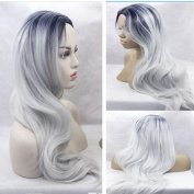 EO Synthetic Hair Heat Resistant Middle Part Ombre #1b/Grey No Lace Wig