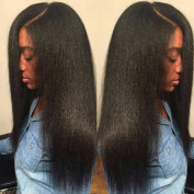 Light Yaki Straight Lace Front Wig with Baby Hair for Black Women Unprocessed Brazilian Virgin Human Hair Natural Colour