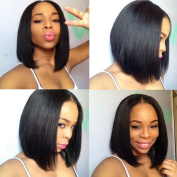 Doren Short Bob Lace Front Human Hair Wigs Silky Straight For Black Women Middle Part Virgin Brazilian Hair Natural Colour 30cm