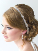 FXmimior Bridal Wedding Crystal Ribbon Headband Wedding Evening Party Headpiece